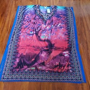 Vibrant Kaftan Cover-up Abaya Dress w/Tree Design
